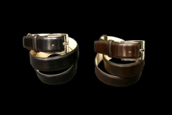MODEL: calfskin belt - COLOR:black  / dark brown